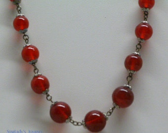 Vintage Czech Red Glass and Silver Necklace