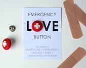 Emergency Love cross stitch button
