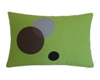 """Avocado Green Circles Decorative Throw Pillow Cover / Pillow Case / Cushion Cover / Cotton / 12x18"""""""