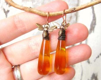 Long Honey Bee Earrings. Honey Bee Jewelry. Wire Wrapped Briolette Honey Amber Earrings. Amber Glass Dangle Earrings. Amber Jewelry