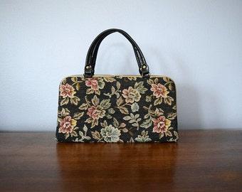 1960s tapestry purse . 60s black floral handbag