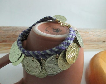 BellyDance Coin Bracelet, purple&green, hand braided with reclaimed cotton yarn
