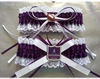 Fremantle Dockers  Themed Wedding Garter set, football garter, purple and white