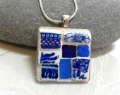 Mosaic Pendant - Shades of BLUE - Jewelry Necklace - Stained Glass - Bead, Cabochon
