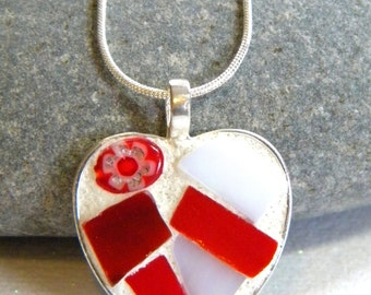 MOSAIC Heart Pendant - Jewelry Necklace - Stained Glass - Millefiori Bead