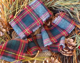 Vintage Grey Red Hunter Green Yellow Tartan Plaid Wool Frayed Edge Ribbon