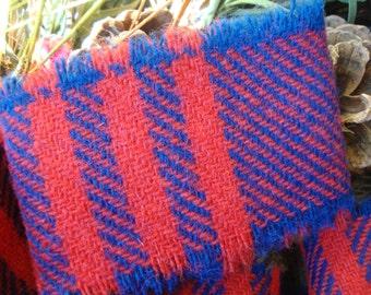 Vintage Red Bright Navy Tartan Plaid Wool Frayed Edge Ribbon