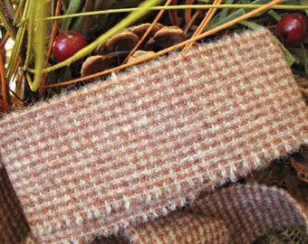 Vintage Dusty Coral Tartan Plaid Wool Frayed Edge Ribbon