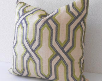 Green and gray embroidered geometric trellis decorative pillow cover
