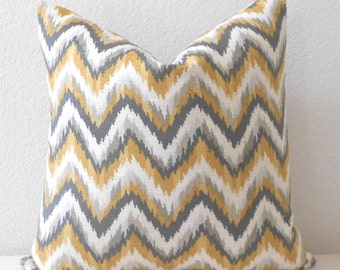 CLEARANCESALE Double sided, Yellow and gray chevron ikat decorative pillow cover, Nate Berkus pillow