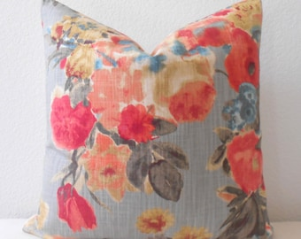Double sided, Blue gray, red coral multicolor floral decorative pillow cover