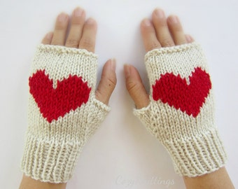 cream arm warmers with heart knitted mittens fingerless gloves Valentine gift wool wrist warmers merino mittens
