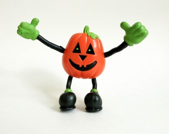 Halloween Toy - Poseable Miniature Pumpkin Man Jack O Lantern Bendy - Trick or Treat Bag Stuffer - Wreath Supply - Halloween Decoration