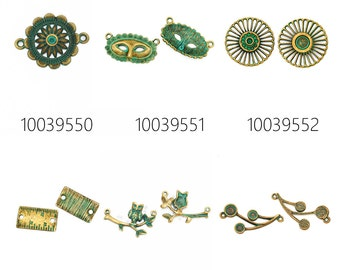 20PCS verdigris patina connectors -zinc alloy patina charms for leather wrap and crochet jewelry 100395
