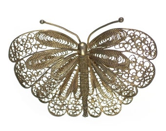 Large Vintage Filigree Moth or Butterfly Brooch Sterling Silver Pin