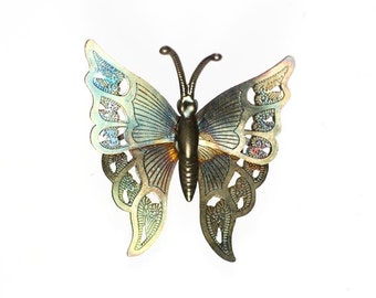 Lightweight Metal Moth or Butterfly Brooch Multicolor Patina Vintage