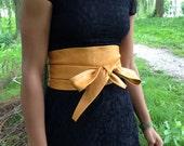 X-Long Light brown to dark mosterd color genuine leather obi belt, corset belt, waist cincher, ceinture, japanese style belt