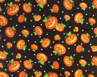 Pumpkin Fabric by the Yard, Halloween, Jack O Lanterns, 100% Cotton, Orange on Brown