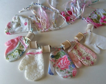 Cottage Chic Mitten Garland Country Farmhouse Decor Vintage Handkerchiefs Lace and Spools in Pink and White Window Bunting