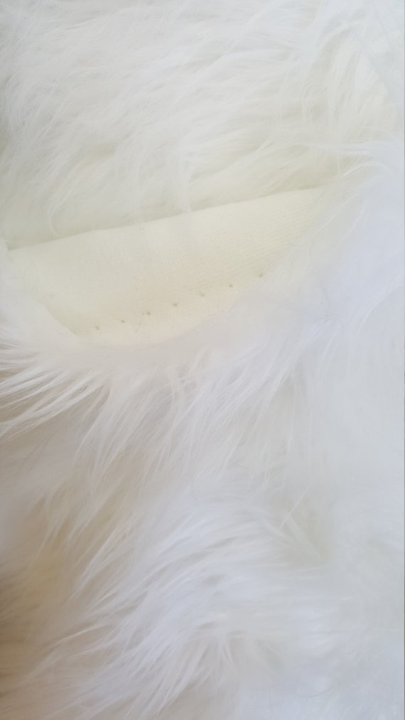 shaggy faux fake fur white luxury fabric by the yard. Black Bedroom Furniture Sets. Home Design Ideas