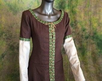 Long Linen Renaissance Dress--- Linen Dress, Linen Night Gown, Norse Dress, Tapastry Ribbon, Chemise, Authentic, Scottish Dress, Highlands