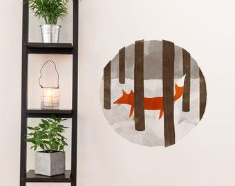 Hide & Seek Fox Removable Wall Sticker | LSB0200WHT-TGN