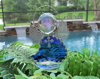 Cobalt Blue Water Glass - Stained Glass Angel Suncatcher with Tibetan Silver Cross Charm - Mounted on English Muffle Glass Stand