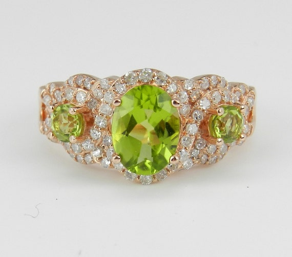 Diamond and Peridot Cocktail Promise Ring Three Stone 14K Rose Pink Gold Size 7