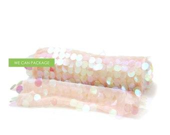 "Blush Pink Confetti Table Runner - Peach Sequin Wedding Runner - 12"" x 108"""