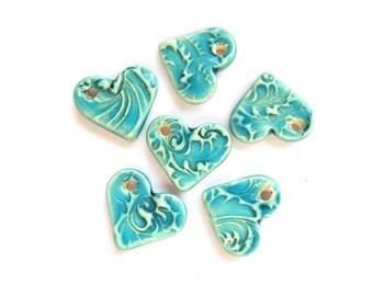 Mediterranean Blue Heart Charm Handmade Ceramic x 1