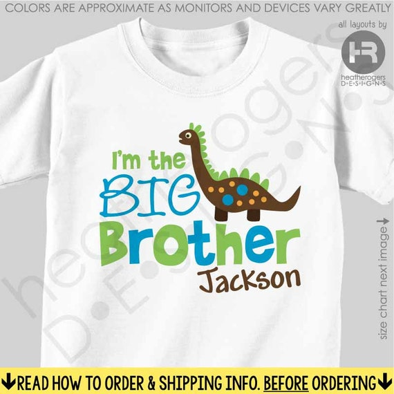Dinosaur Big Brother Shirt or Bodysuit - Personalized Big Brother Shirt - Dinosaur Birthday Shirt