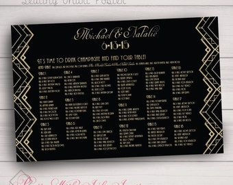 Seating Chart Poster, Seating Arrangement, Mounted Poster. Gatsby, Black, Gold. Choose any Design in Shop