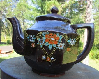 Japanese Brown Glaze Handpainted Teapot