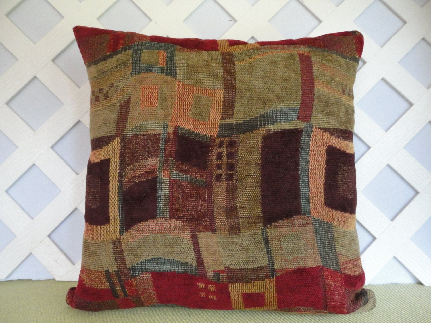Geometric Pillow Cover Abstract In Red Orange Teal Plum Green