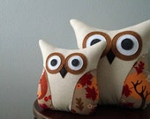 Autumn Decor - Fall Decor - Owl Pillow - Autumn Pillow - Fall Pillow - Fox & Fall Leaves - Brown, Burgundy, Orange - Small or Large