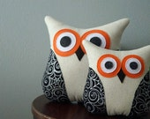 Halloween Owl - Halloween Decor - Halloween Pillow - Silver Spider Webs - Silver, Orange, Black - Large or Small Owl Pillow - LAST ONE