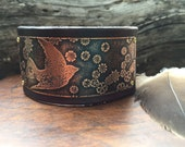 Bracelet Etched Copper Leather Cuff Bird