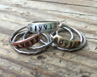 Personalized name stacking rings, word rings, sterling stacking rings, Personalized Rings, Mothers Ring, childrens name ring, dainty rings