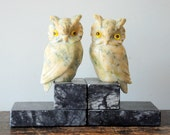 Pair of Vintage Italian Marble Owl Bookends
