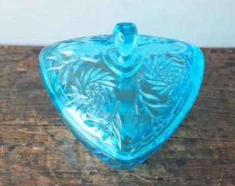 SALE Vintage Triangular Glass Trinket Box, Hazel Atlas, Capri Blue, Pinwheel Pattern