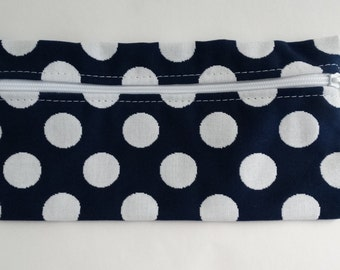 Sunbrella Navy and White Polka Dot Zippered Pouch, Cosmetic Bag, Pencil Case, Bridesmaid Gift, Zippered Catch All Bag, Canvas Gift Bag