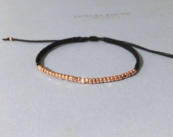 tiny rose gold nuggets micro macrame friendship bracelet. shyly.