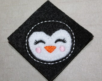 Girly penguin feltie, with a pink cheeks, Winter girl penguin, 4 pieces for hair accessories, scrapbooking, or crafts