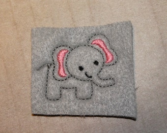 Full body elephant feltie, gray elephant with pink in ears felt, 4 pieces for hair accessories, scrap booking or crafts