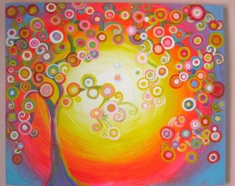 Abstract Original Acrylic Tree painting on Stretched canvas 18x24 orange blue white yellow circles