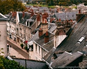 French Village Photo, Architecture Decor, Tilt Shift Photo, Grey And Red Decor, Rooftops Photograph, City Street, French Decor, Travel Art
