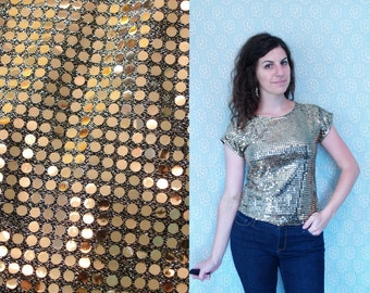 1970s Vintage Gold Metallic Disco Sequin Shiny Bright Short Sleeve Stretchy Blouse Shirt Top / Dancing Queen Studio 54 / Small Medium S M