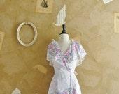 Vintage 1970s -Reason To Smile- Floral Print Wrap Dress