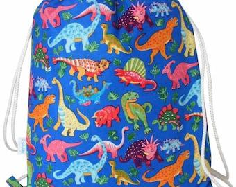 Dinosaur Drawstring Backpack, Swim Bag, PE Bag, Rucksack