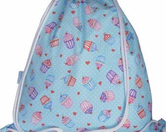 Drawstring Backpack, Swim Bag, Gym Bag, Waterproof - Cupcake